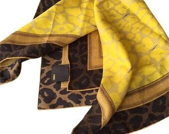 FENDI silk animal print scarf