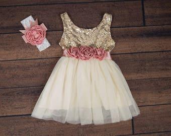 Ivory Tulle Flower Girl Dress, Gold sequin dress, Cream Tulle, Gold Ivory Cream Wedding, Sash Belt set, Gold glitter dress, Ivory tutu dress
