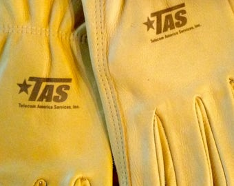 Custom Engraved Branded Logo Leather Work Gloves for Business, Company, Farm, Ranch, Fathers, Promotions and Gifts