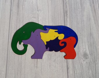 Wooden puzzle wooden elephants wooden animal gift boy girl toy educational toys animal puzzle kids child's rainbow wooden elephants family