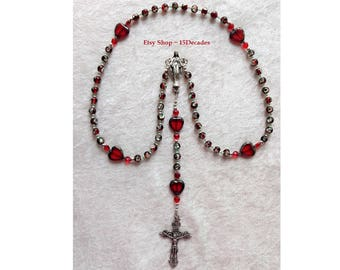 Vintage Red Beads & Hearts ~ 5 Decade Rosary