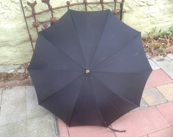 Vintage Black Umbrella with Shaped Wooden Handle