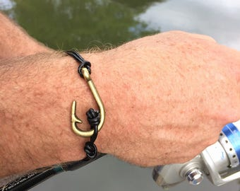 Mens Fishing Bracelet , Mens Christian Bracelet, Leather Fish hook bracelet, Fishing Jewelry, Christian Jewelry, Men's Jewelry