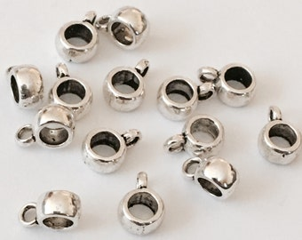 Sale***50 peaces Dull Silver Tone Smooth Cup Bail Beads 9x12mm