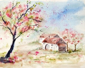 Original watercolor painting of a farm with blossoming cherry trees in France - trees in bloom painting - french landscape - 12