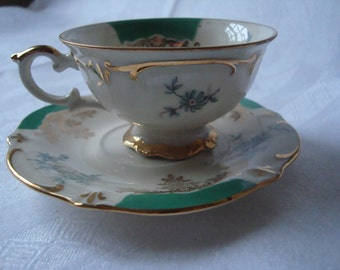 BAVARIA SCHUMANN Small Cup and Saucer, Vintage, Floral Design- Green