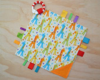 Taggie, Crinkle Sound, Sensory, Activity, Teething, Minky Blanket- Multi-colour Giraffes