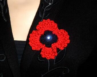 REMEMBRANCE DAY POPPY. Crochet brooch.