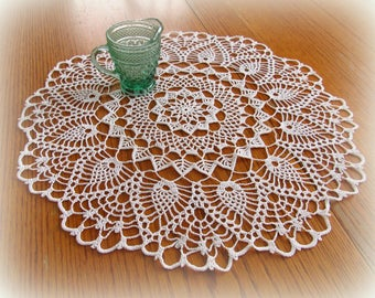 "White Crochet Doily with Pineapples, Shells, and Pretty Leaf Stitches--20""--Table Topper--Free Shipping"
