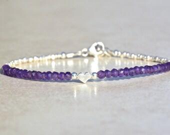 Amethyst Bracelet, Amethyst Birthstone Bracelet, February Birthstone, Beaded Gemstone Bracelet, Gift for Her, Silver Heart Charm Bracelet