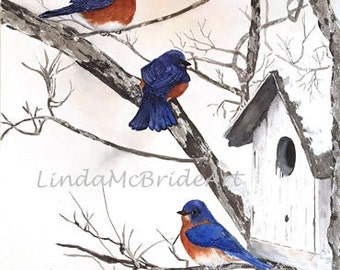 Bluebirds in Snow  5x7 Blank greeting card with Envelope