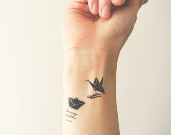 Japanese Origami (Paper Art) - Temporary Tattoos // Boat, Crane // Cute // Travel // Tumblr Style // Summer // Party
