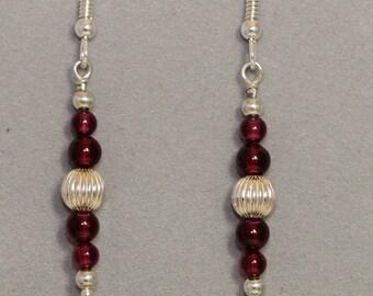 Garnet Earrings / Silver & Garnet Earrings / French Drop Earrings / Sterling Silver Earrings