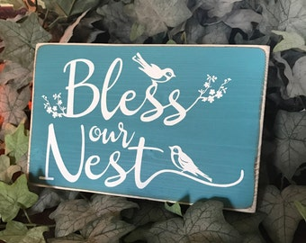 Ready to Ship Bless Our Nest Rustic Wood Sign