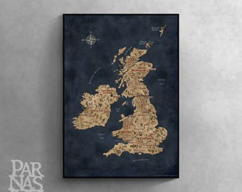 Fantasy Map of British Isles, British Isles Art, Great Britain Map, Ireland Map, United Kingdom Map, British Map Art