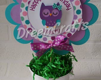 Owl Centerpiece. Owl Birthday. Owl Birthday Centerpiece. Look Whoo's 1 Centerpiece. Any color scheme available! FREE confetti with banner.