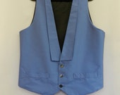 Blue Silk dupion Waistcoat  3840 Chest With lapels.