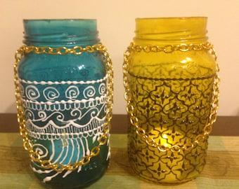 Blue and Yellow, Set of 2 Bohemian Moroccan Mason Jars Lanterns, Moroccan Lamps, Tinted Mason Jars, Candleholders, Boho Lanterns, Jars,