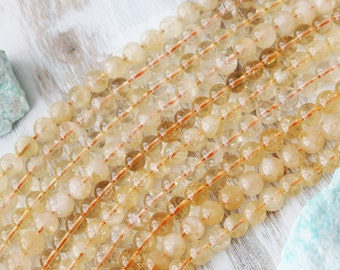 8mm Citrine, Citrine Beads, Yellow Beads, Natural Citrine, Natural Gemstone, Full Strand, GS058
