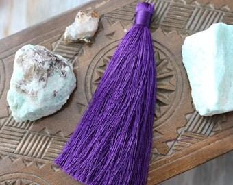 Purple Tassels, Long Tassels, Skinny Tassels, 3.5 inches, Large Tassel, Large Purple Tassel, Silk Tassel, Jewelry Tassel, Purple Silk, B05