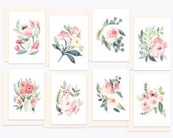 Watercolor Greeting Card Set with Envelopes - Nursery Florals - 8 Blank Note Cards - Mix & Match