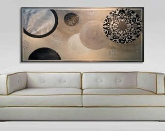 Original abstract painting, silver-gray-pearl Galaxy wall painting on canvas, large modern art with shimmering elements and heavy textures