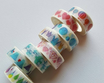 Watercolour washi tapes assorted - origami, hearts, diamonds, birds, air balloons