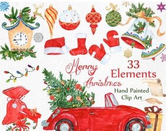 """ON SALE 30% Watercolor Christmas clipart: """"CHRISTMAS Clip Art"""" Holiday clipart Christmas Bells Ornaments Snowflake Christmas gifts Santa Win"""