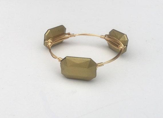 Clearance Sale, Gold Bangle, Gold Bracelet, Wire wrapped bangle, handmade bangle