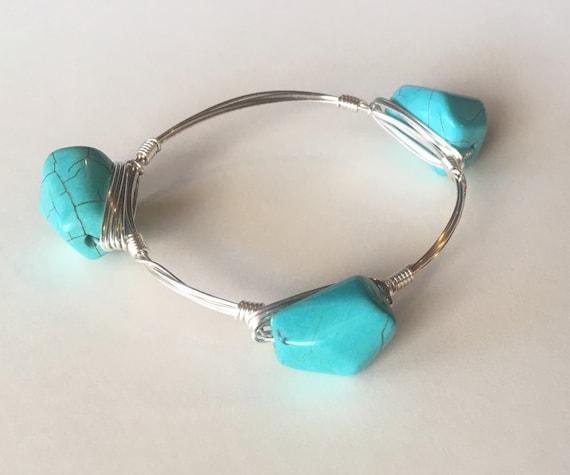 CLEARANCE SALE, Turquoise Bangle Bracelet, Turquoise Bangle, Wire wrapped bangle bracelet, Handmade Bangle, 3 stone bangle,