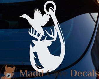 Antler Fish Hook Duck Decal for tumblers, laptops, windows
