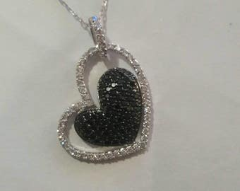 Sterling silver heart necklace with cubic zirconia and rhodium necklace