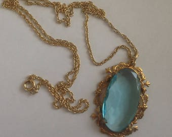 Antique Edwardian Aqua Blue Glass Pendant Necklace