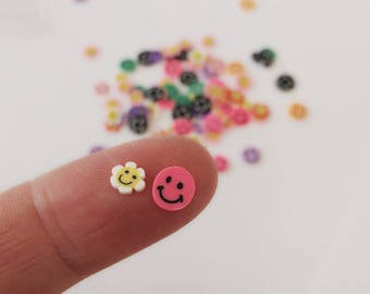 100 Petite Smiley Faces / Nail Art Faces / 3-5 mm Colorful Smile Embellishments / Scrapbook Smiles / NA12