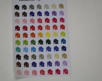 HOUSE Planner Stickers in RAINBOW of colors | perfect for mortgage, rent, dad's house | all planners | L21