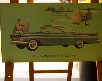 Vintage Old Original advertisement board   Chevrolet  Impala Sport Coupe