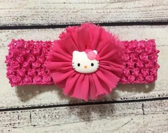 Hot Pink Hello Kitty Headband ,Hot Pink Flower Headband ,Baby Headband , Newborn Headband , Hot Pink Headband , Hello Kitty Hair Bow