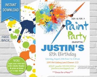 Paint Party | Art Party, Birthday Invitation, Painting Party, Paint Party Invite, Art Birthday Party, Art Party Invite, Boys Paint Party