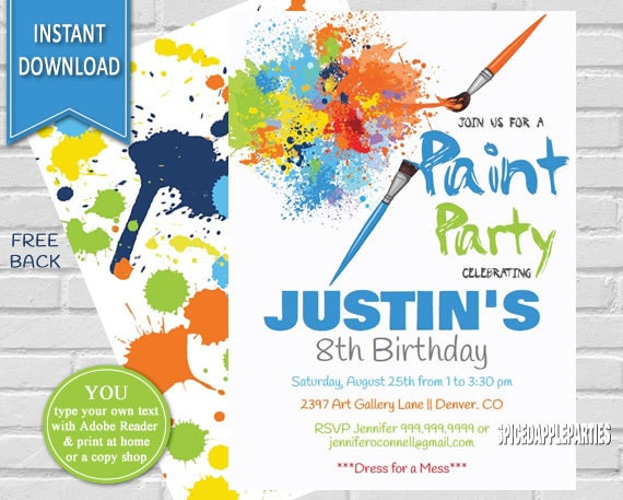 paint party art party birthday invitation painting party paint