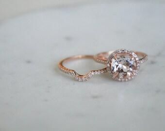 Round Morganite Diamond, Halo Engagement Ring, Rose Gold Art Band, Wedding set,  Morganite Wedding set, Diamond, Rose Gold, Halo Diamond