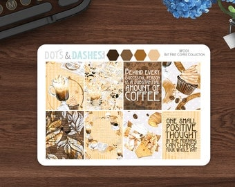 But first coffee decorative full boxes, full vertical boxes, decorative coffee stickers, planner stickers, coffee planner stickers, BFC01
