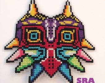 Legend of zelda majora's mask 8bit cross stitch pixel art