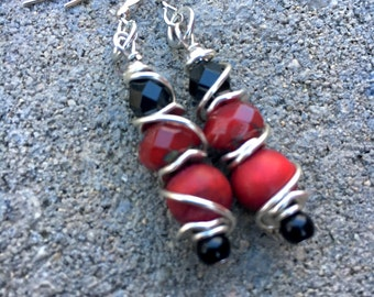 Boho Earrings, Hippie Earrings, Black and Red Earrings, Unique Earrings, Dangle Earrings, Holiday Earrings