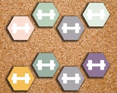 168 SMALL Hexagon Dumbbell, Fitness, Workout, Weightlifting Icons for 2017 Inkwell Press, Plum Paper, Erin Condren IWP-S7