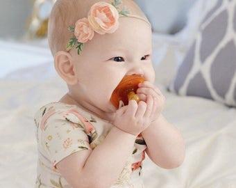PEACH Petite flower crown, peach flower crown, floral crown, boho crown, flower headband