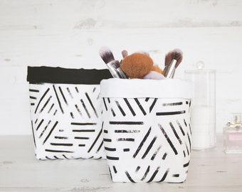 2x Fabric Bin set Nordic geometric style, black and white storage baskets.