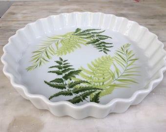 vintage Shafford Enchantment Fern Leaf Quiche Pie Baking Dish Fine Porcelain 1979