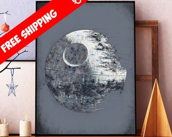 Star Wars Poster, Death Star Art, Star Wars Death Star Print, Star Wars Art, Star Wars Giclee, Kids Room Decor