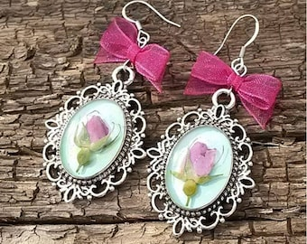Elva Handmade Epoxy Resin Women Dangle Earrings Jewelry, Perfect for Bridesmaids, Real Flower Pink Rose Inside of Metal Openwork Frame,