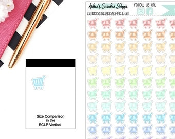Pastel Mini Grocery Cart Grocery Buggy Shopping Cart Planner Stickers